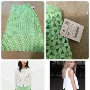 Zara green lace skirt